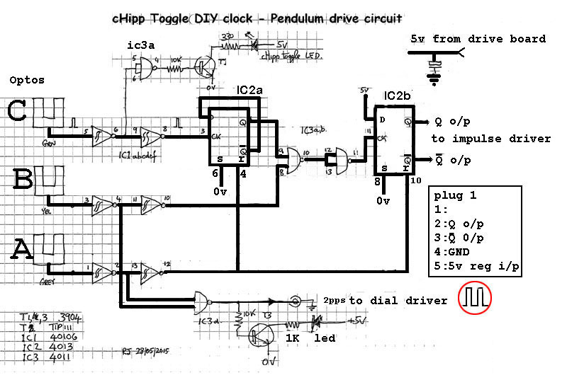 a diy free pendulum, hipp toggle master clock electrical wiring circuits the circuit of the electronic chipp toggle section
